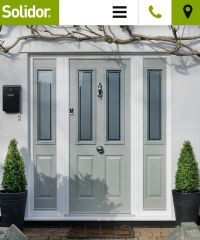 Grey green composite front door and side panels | Front ...