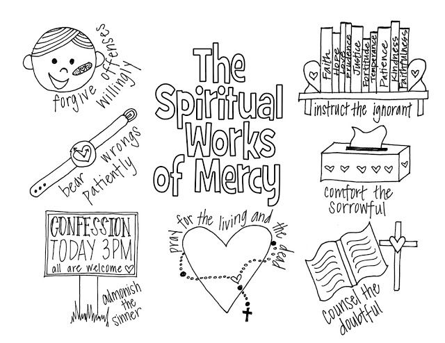The Spiritual Works of Mercy Coloring Page- Free printable