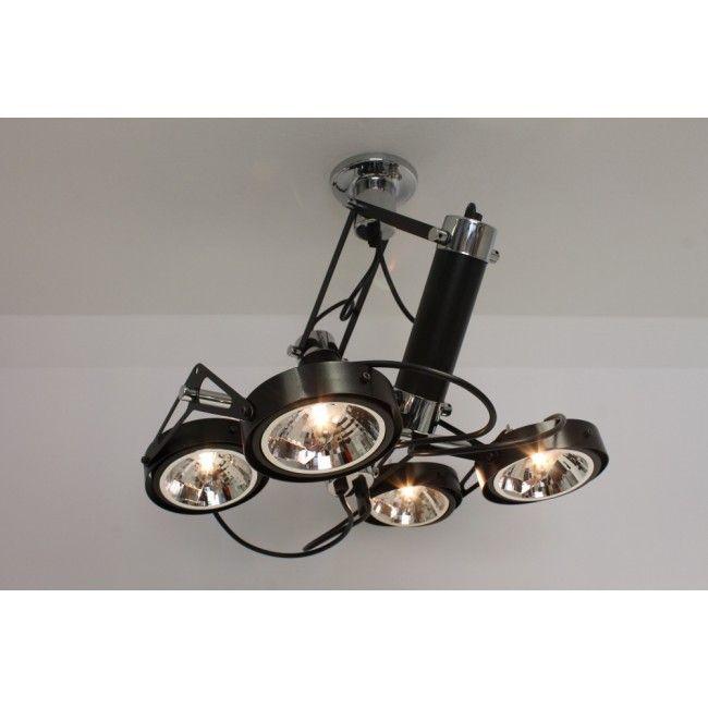Strakke industrile plafondlamp LUXOR  4lichts zwart
