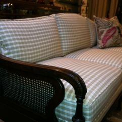1930 Cane Back Sofa Theatre Room Bed 1950 39s With New Cotton Check Pattern