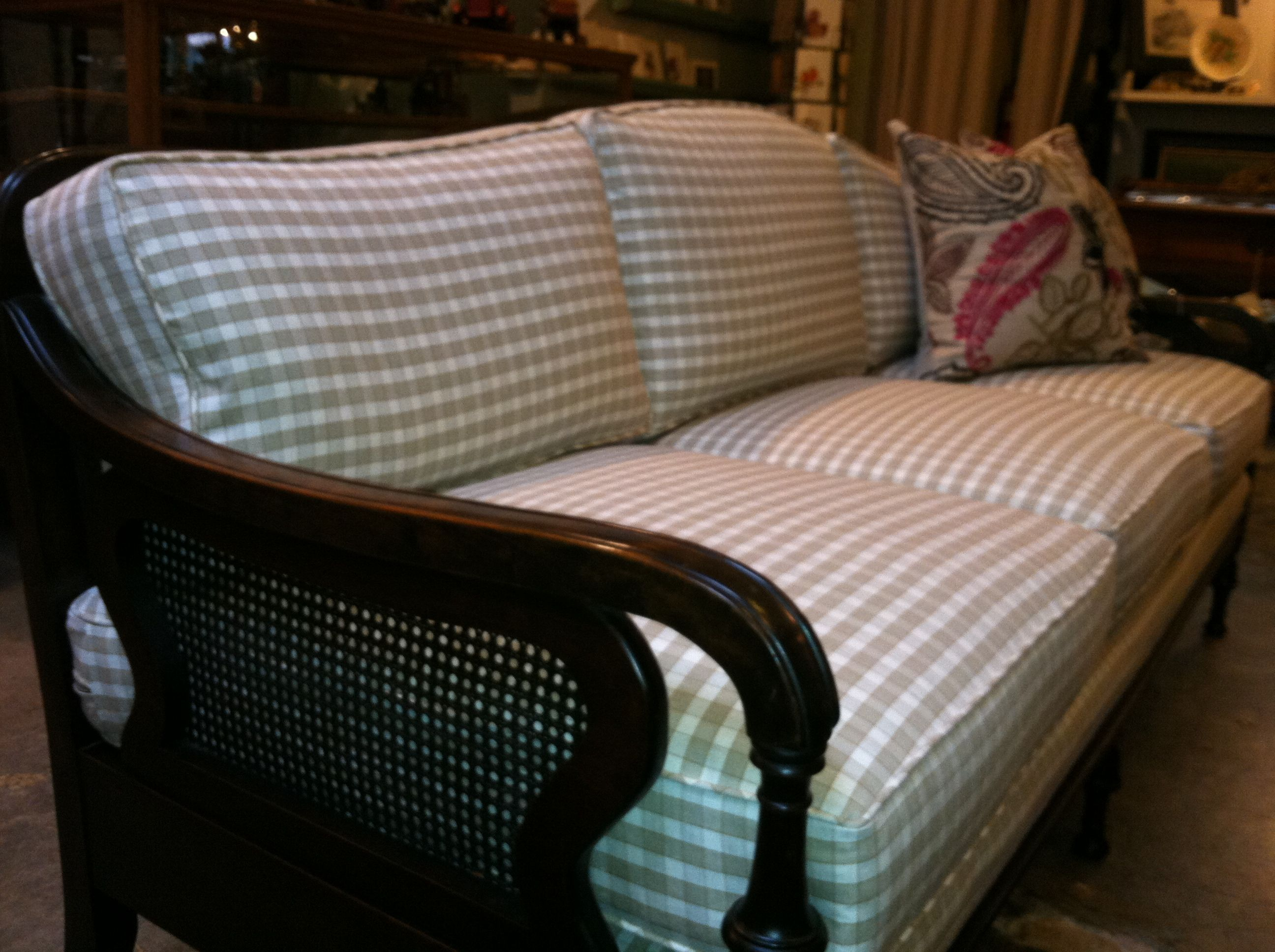 homemade modern ep 70 outdoor sofa sofas direct from manufacturer wales 1950 39s cane back with new cotton check pattern