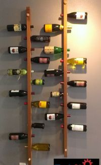 Wall-Mounted Vertical Wood Wine Rack | Wood wine racks ...