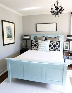 Blue bed also light gray and dark accents beautiful repin by rh pinterest