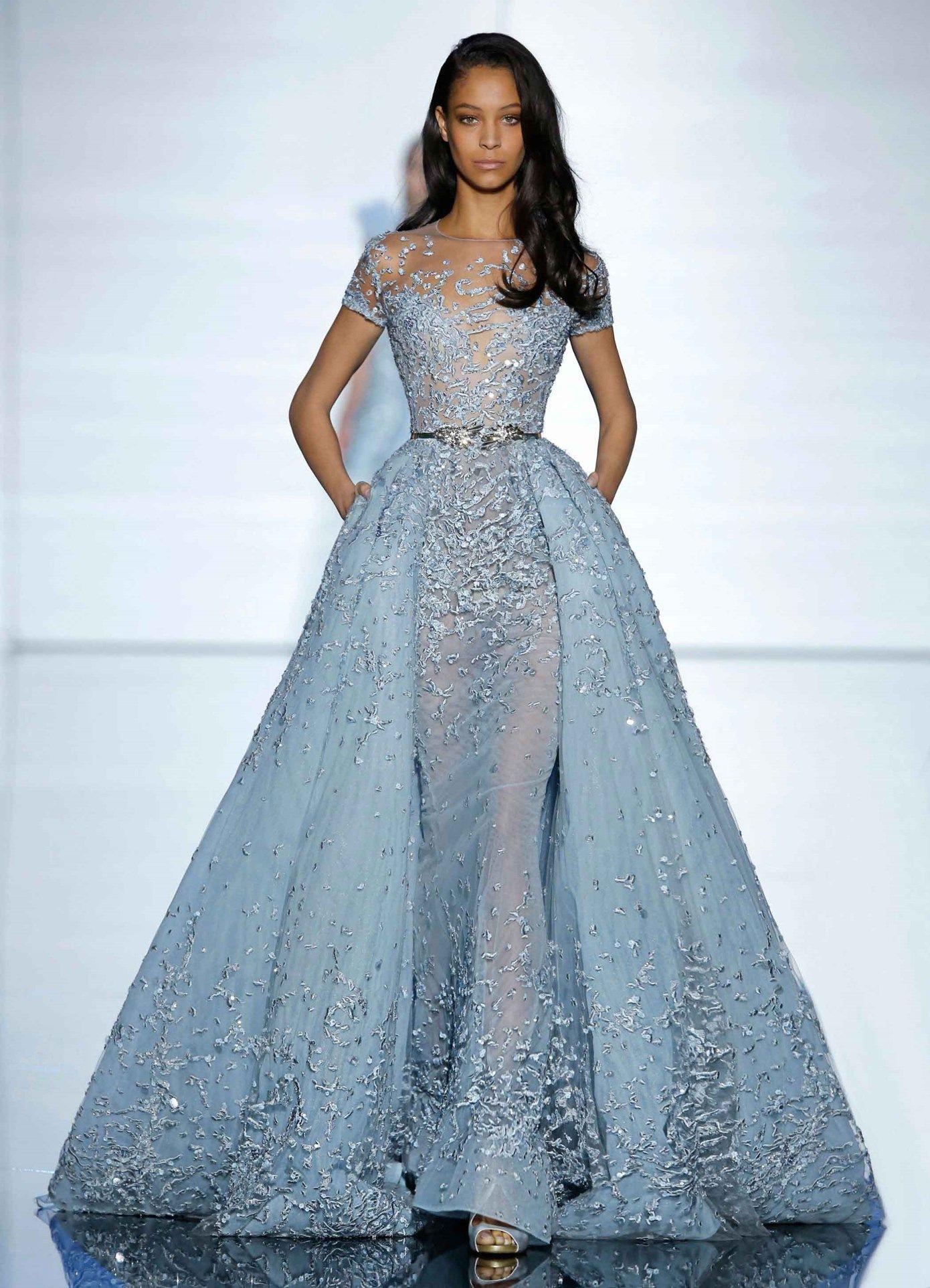 Zuhair Murad Couture Spring 2015 Long Aquamarine Sheath