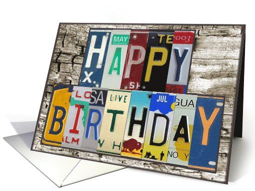 License Plates Happy Birthday Card Car Lover Greeting