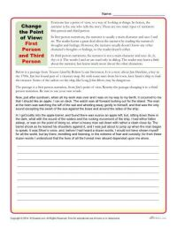 Change the Point of View Worksheet | Activities, Students ...
