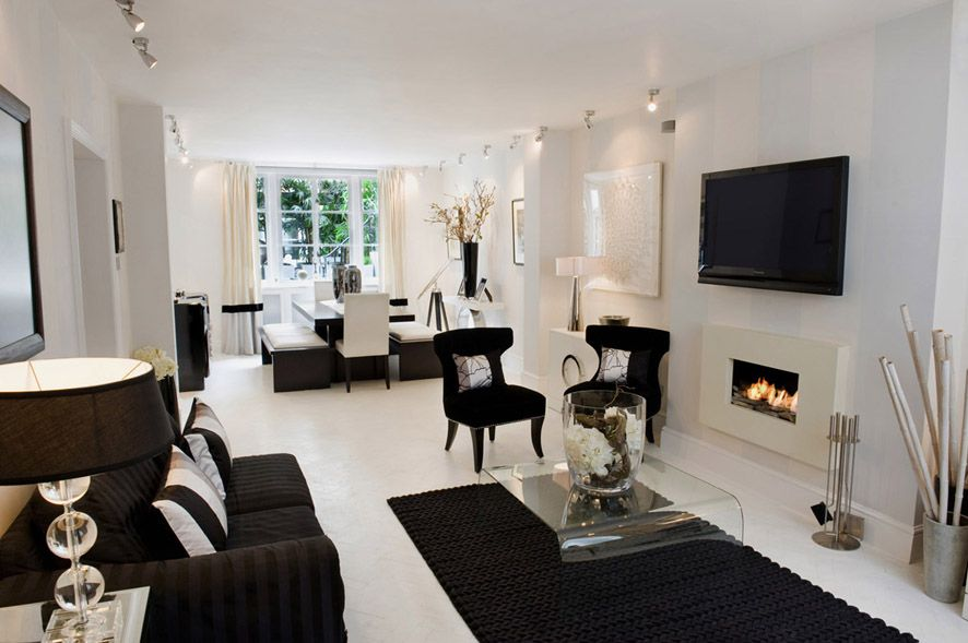 Black And White Living Room Interior Design Ideas White Living