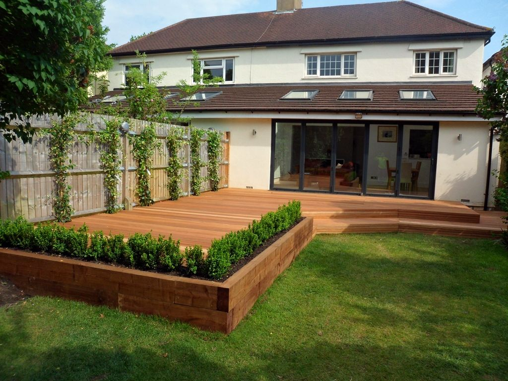 Elevated Garden Angled 145mm Balau Smooth Hardwood Decking With