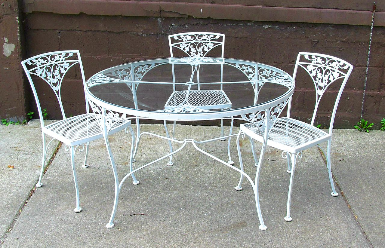 white wrought iron kitchen chairs modern glider chair dining table fascinating round outdoor