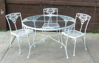 Dining Table: Fascinating Round White Wrought Iron Outdoor