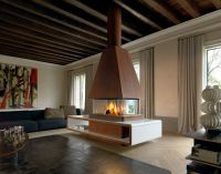 Central fireplace with panoramic glass HELSINKI Panoramic ...