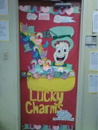 Here is a cute St. Patrick's Day classroom door display