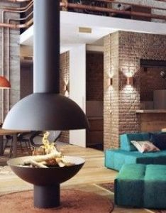 Interior unusual soft loft design ideas using blue fabric sofa also exposed brick wall plus stylish wooden chairs hanging fireplace chimney the   abode pinterest industrial lofts rh