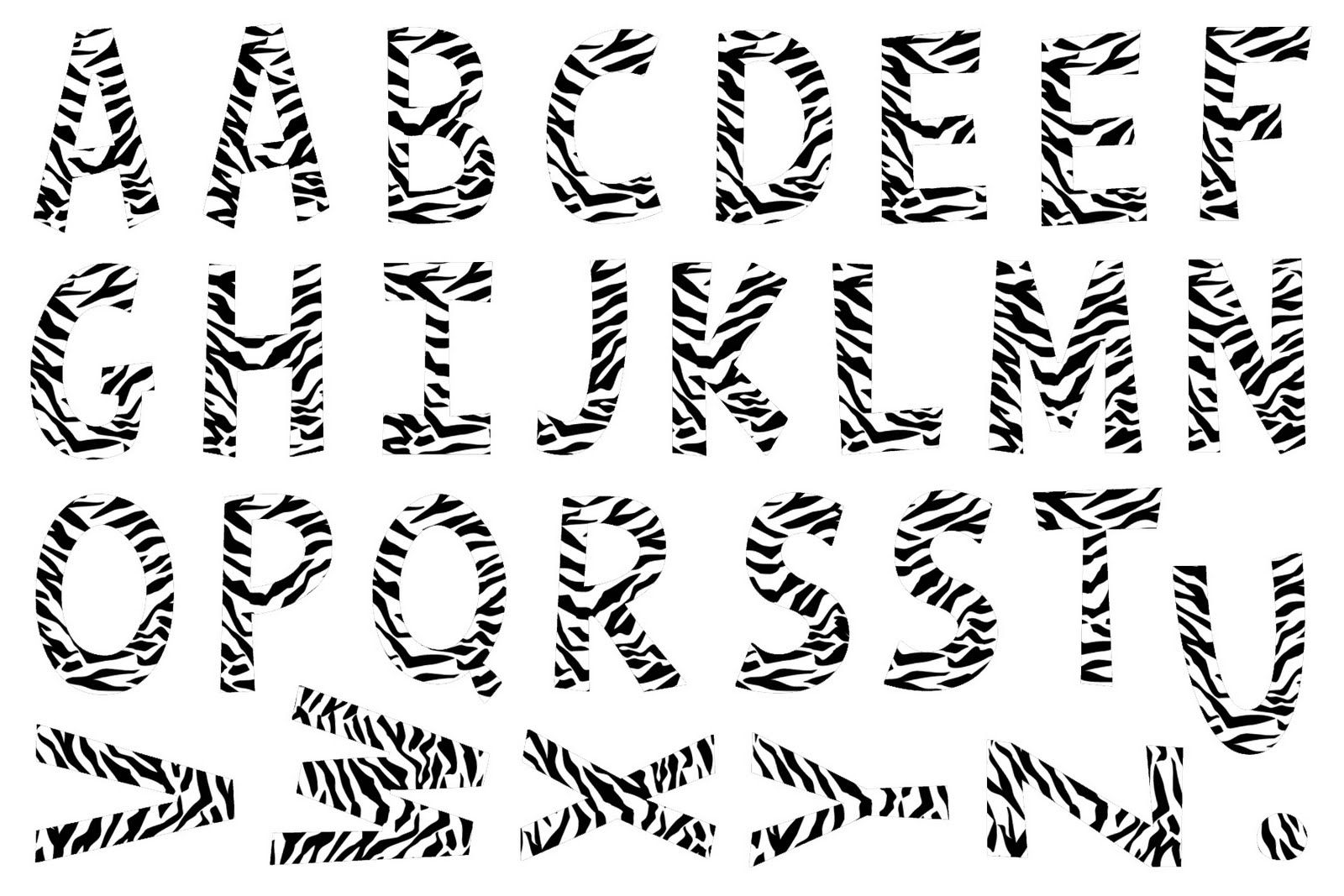 Printable zebra alphabet...cut out and spell out anything