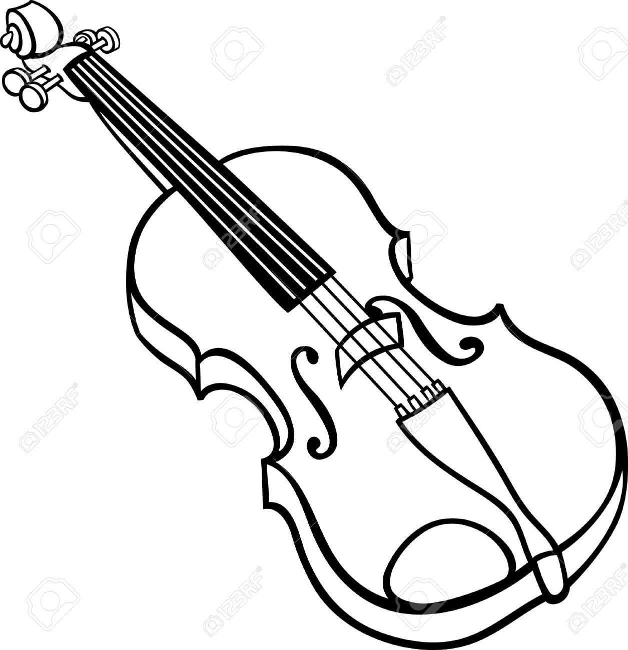 Black And White Cartoon Illustration Of Violin Musical