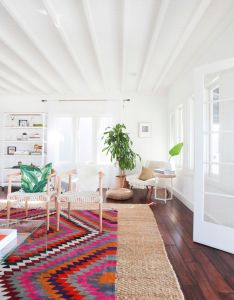 Inside  dreamy socal bungalow also wall trim throw rugs and vaulted rh pinterest