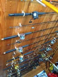 Nice rack of fishing rods. Mounted to pine ceiling ...