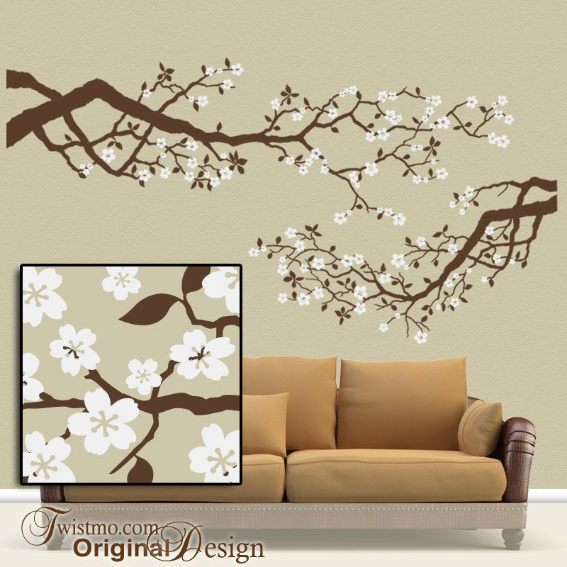 large vinyl wall decal set cherry blossoms tree branches with white