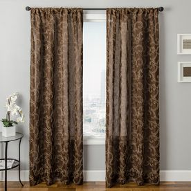 LOWES Allen Roth Everly 63 In L Geometric Chocolate Rod Pocket