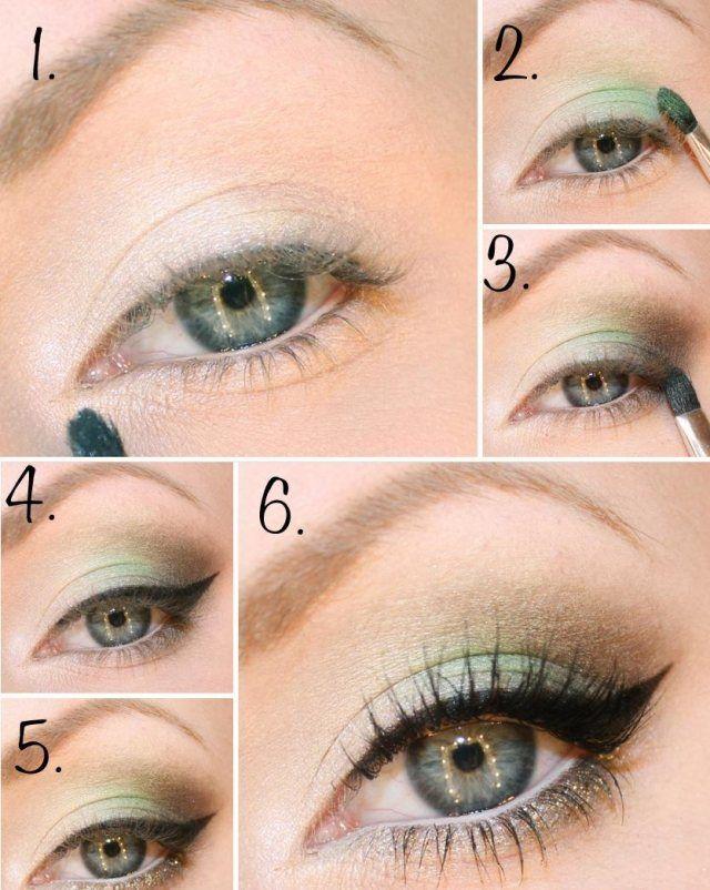 augen schminken anleitung grn braun kombination  wedding  Pinterest  Kombination Braun und Auge