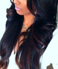 Rich, black hair color with deep brown highlights. | hair ...
