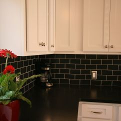Black And White Tile Kitchen Backsplash Swinging Doors Cabinets Subway Granite