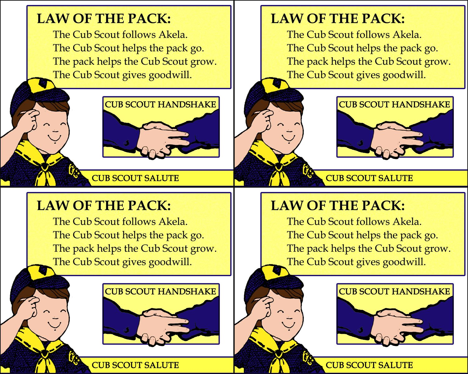 Handout Version Of The Law Of The Pack 8x10 Printable On