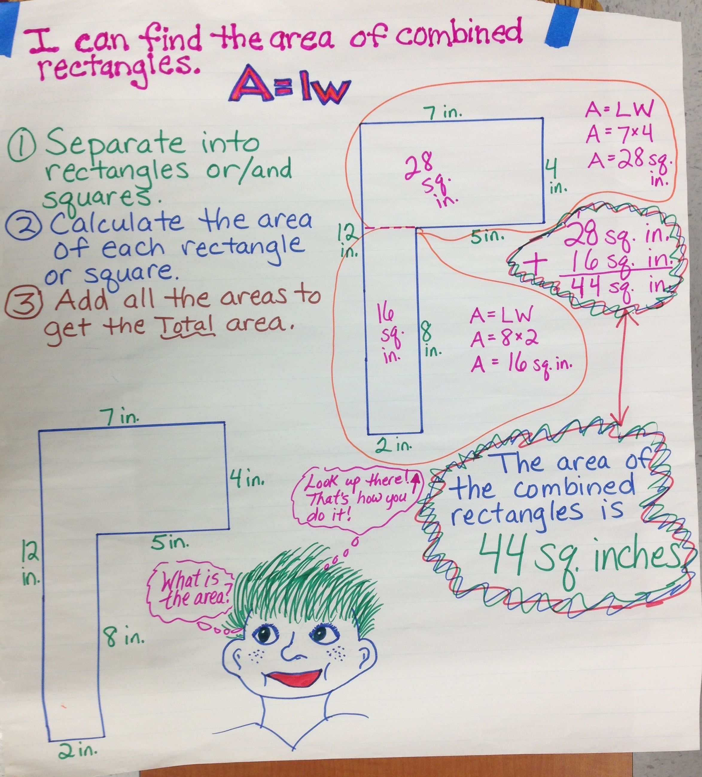 Area Of Combined Rectangles Anchor Chart 4th Grade Common