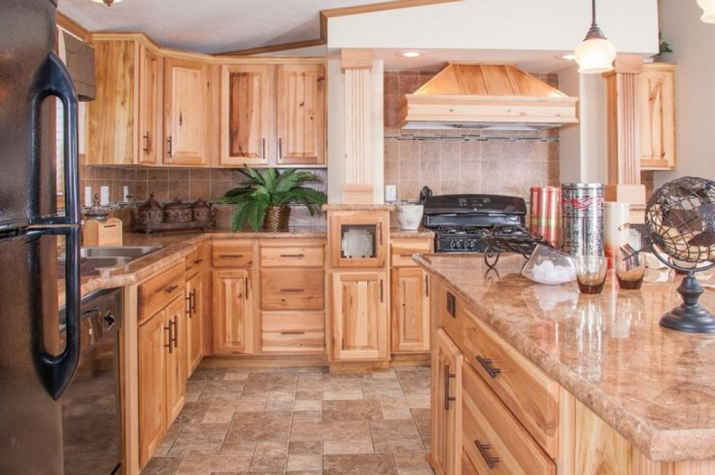 Large Kitchen With Ceramic Floor Tiles And Hickory