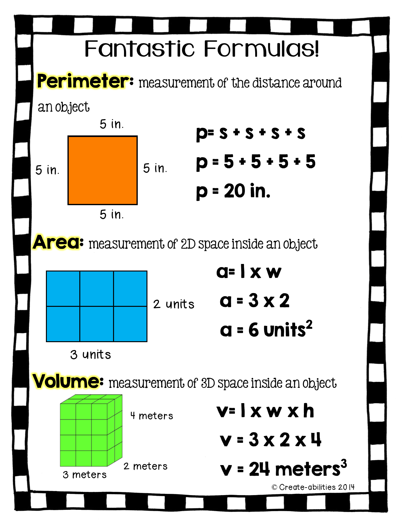 Free Perimeter Area And Volume Printable For Math Journals Comes In Black And White Too