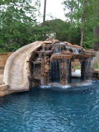 Inground swimming pool/slide/grotto | Pools by Mitchell ...