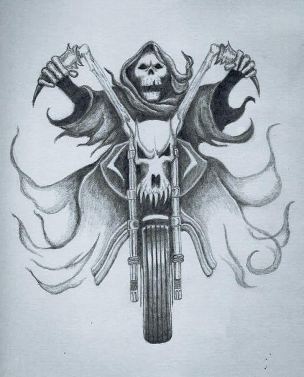 Skeleton Riding Bike Tattoo Design. Harley Davidson