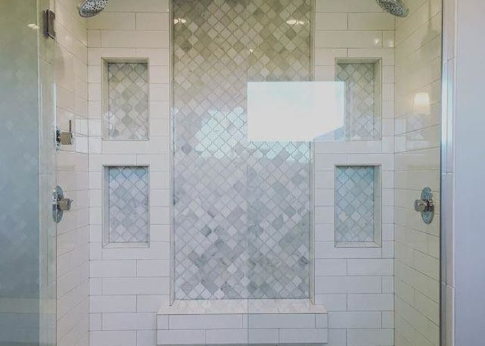 Love inset marble subway tile and white double shower also best tm bathroom remodel images on pinterest ideas