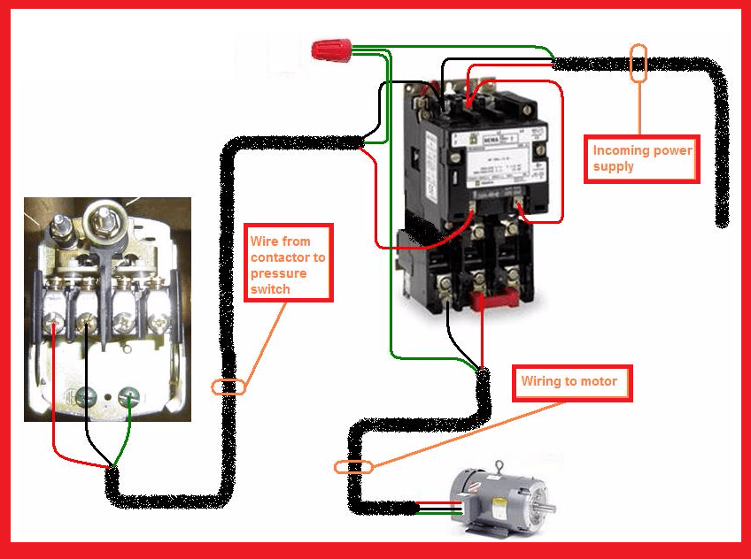 3 phase start stop switch wiring diagram air conditioner troubleshooting single motor contactor | elec eng world w t htay pinterest