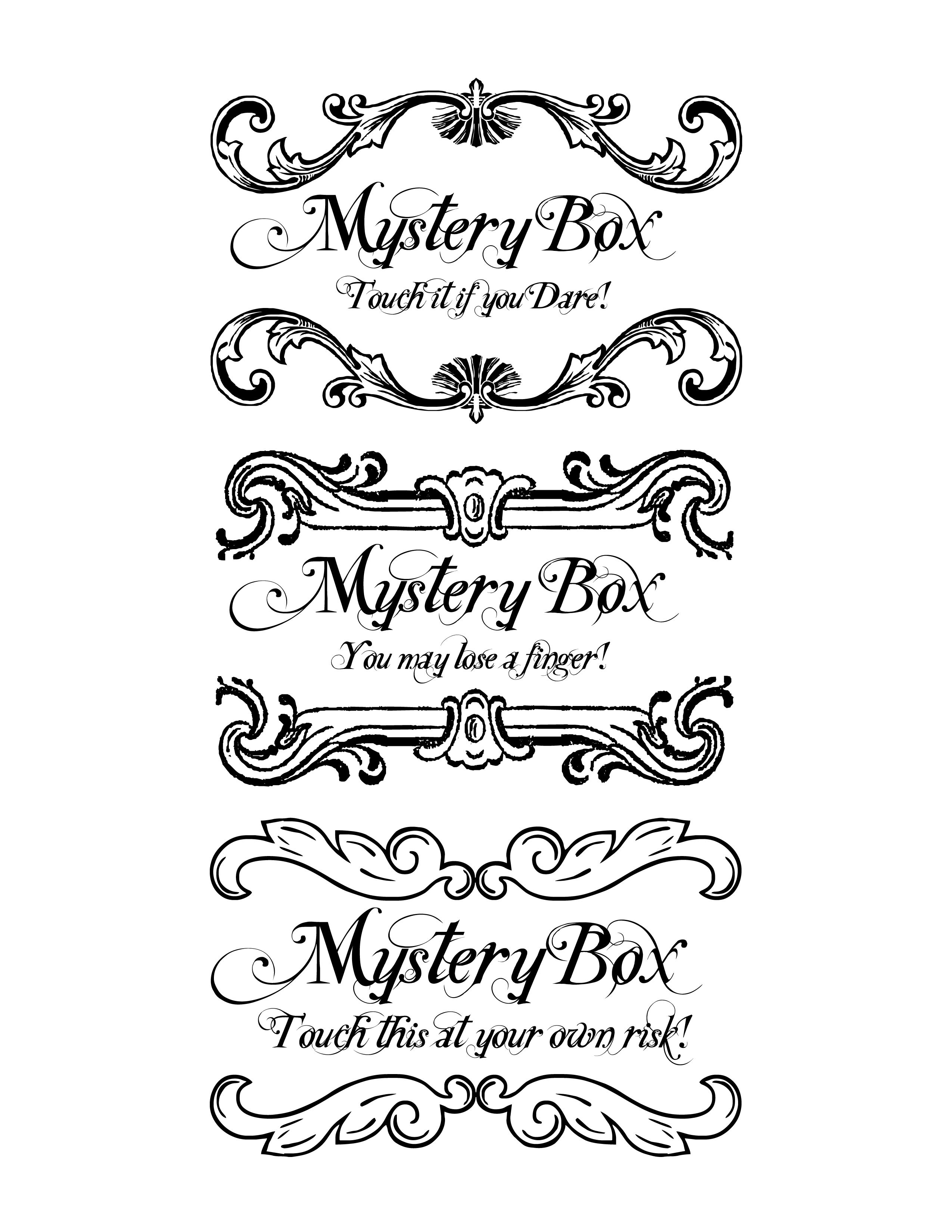 Halloween Mystery Box labels. Spray paint boxes black, cut