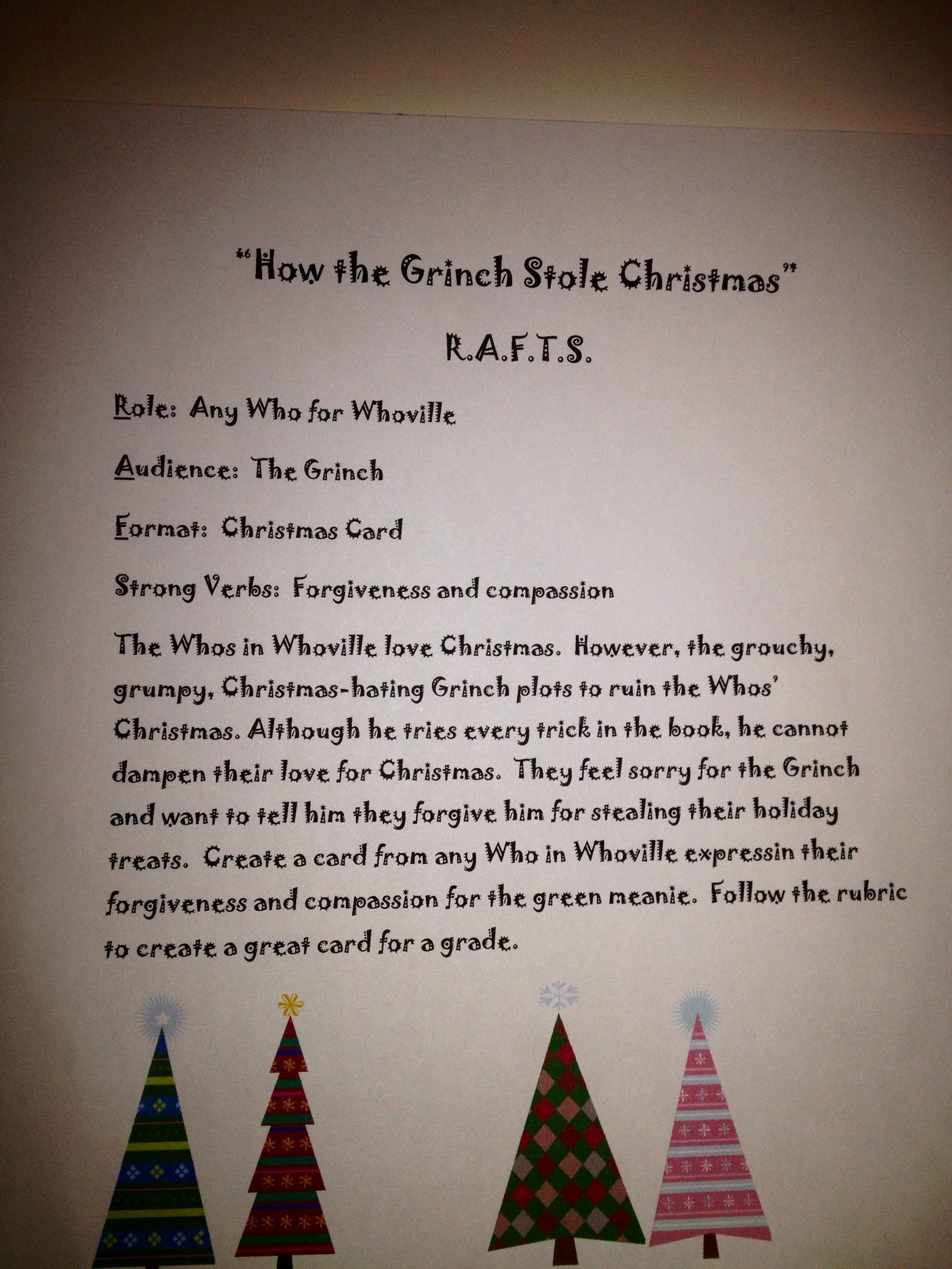 R A F T Writing Activity The Grinch For Christmas