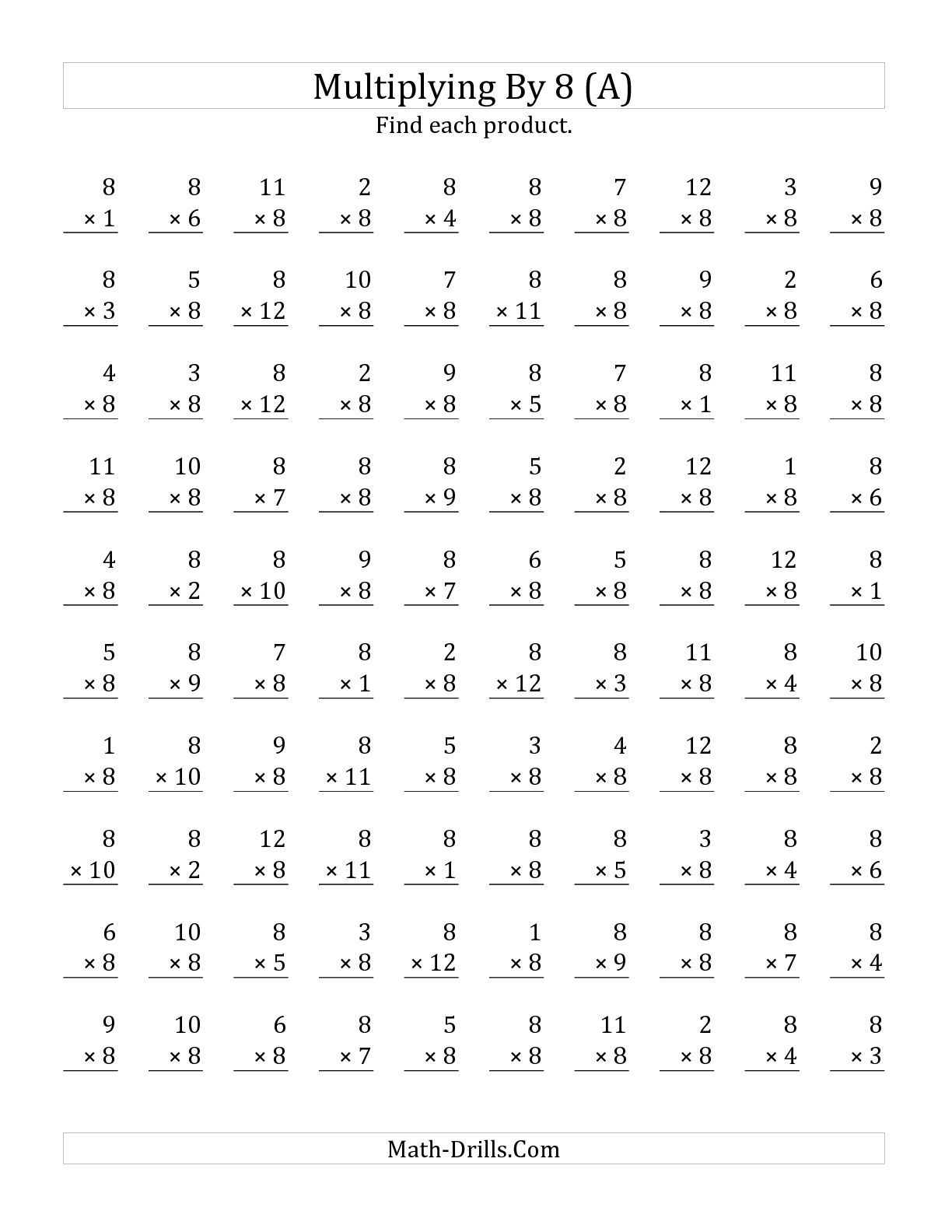 The Multiplying 1 To 12 By 8 A Math Worksheet From The Multiplication Worksheet Page At Math
