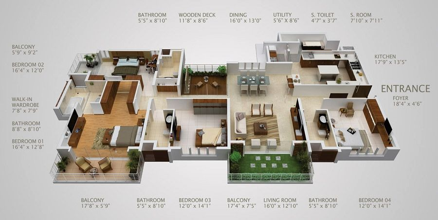 "50 Four ""4"" Bedroom Apartment House Plans House Layouts Bedroom"