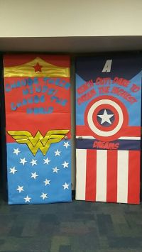 Wonder Woman Captain America classroom door | Classroom ...