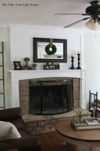 Adding ship lap above the fireplace mantel adds huge ...