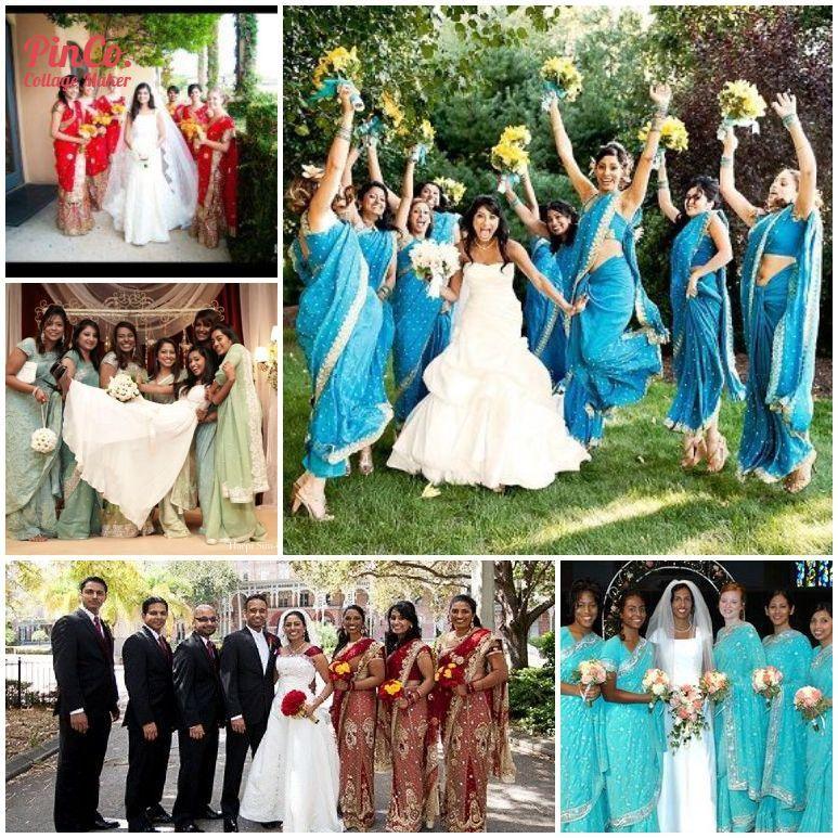 16 Bridesmaid Saris to Dazzle Your Indian Fusion Wedding  bridesmaids in saris and bride in a