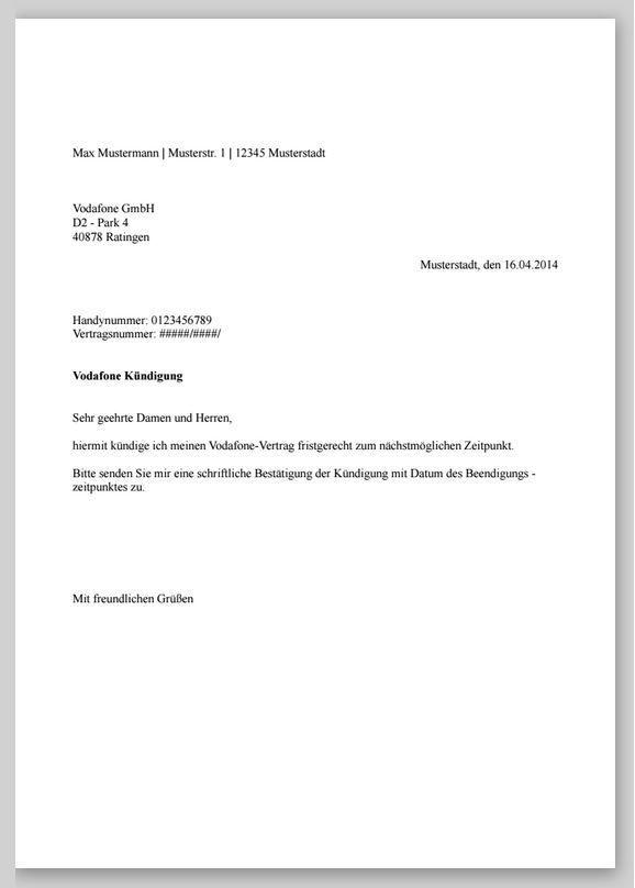 Kndigung Vertrag Vorlage O2  Kndigung  Pinterest  Kndigung Vertrag und Vorlagen