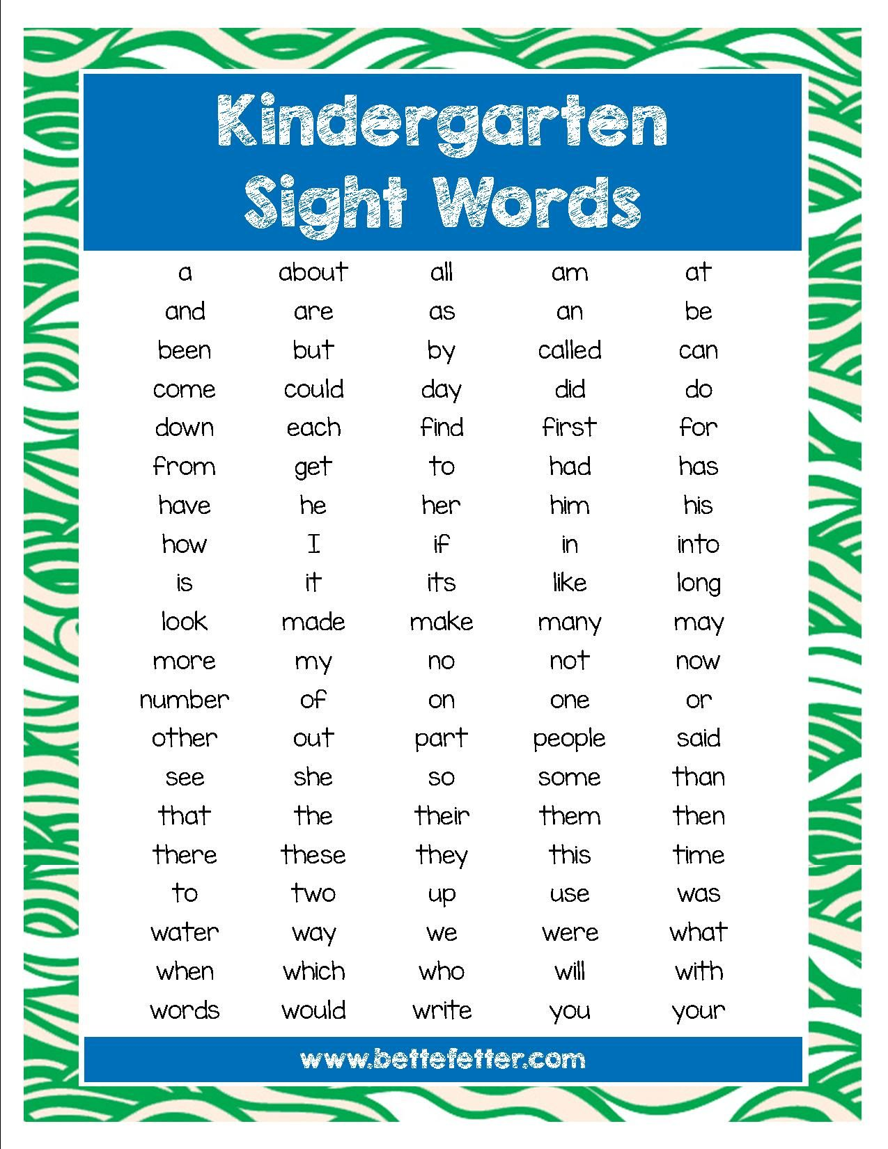 100 Sight Words Your Kindergartner Or First Grader Should