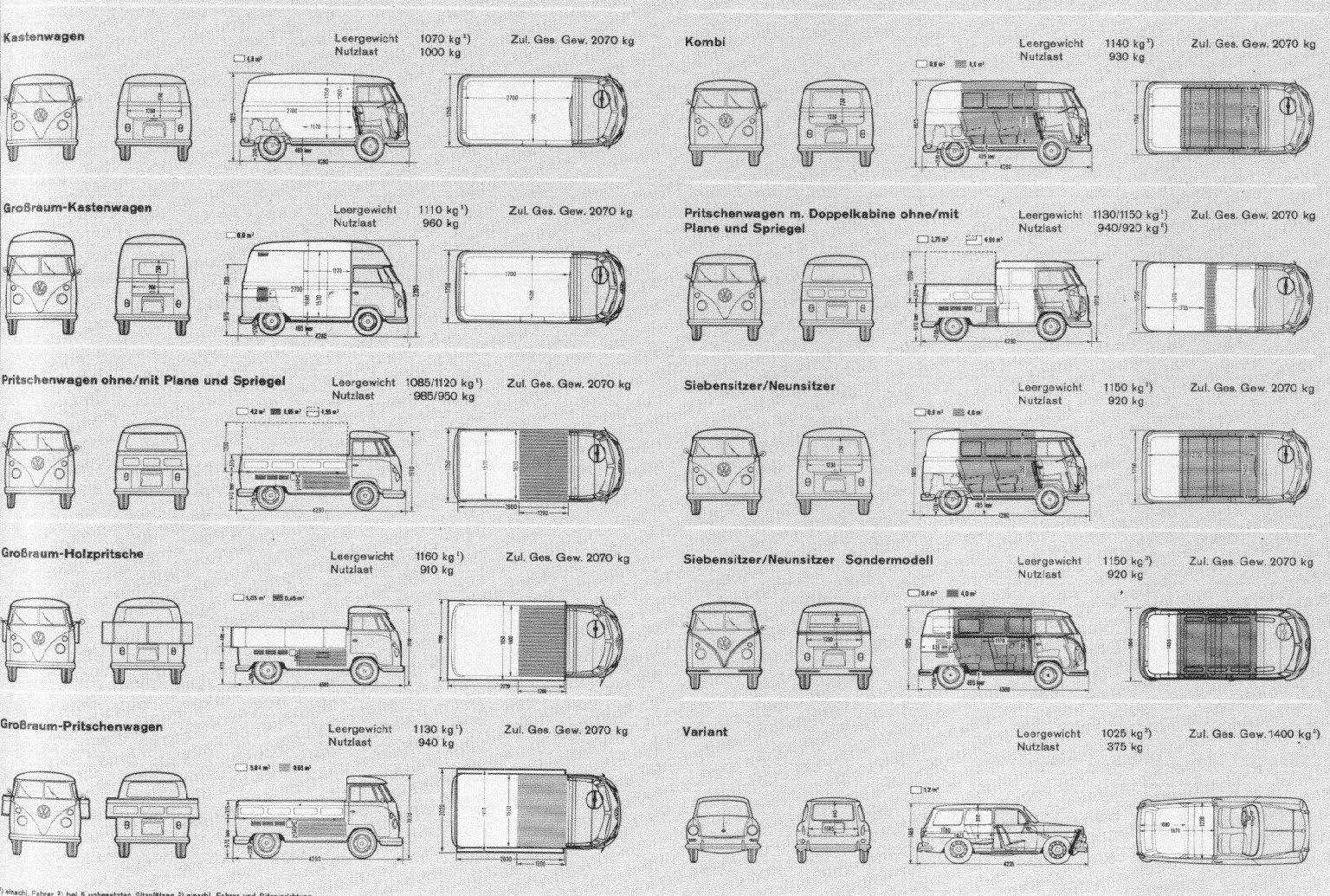 vw t1 wiring diagram john deere 445 type 2 and 3 variant plans trucks pinterest