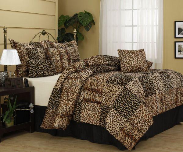 Cheetah And Leopard Print Nanshing Cameroon Plush Comforter Set Red & Animal Prints Rocks