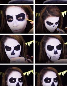 Pumpkin skull face click pic for quick and easy halloween costumes women diy fancy dress also white black makeup pinterest rh