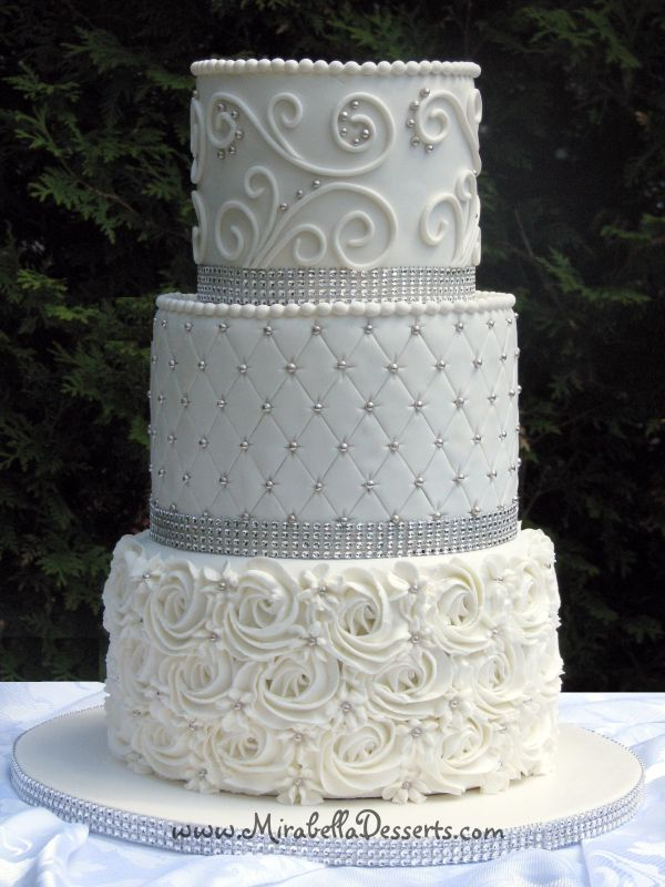 3-tier -white Wedding Cake Decorated With Buttercream