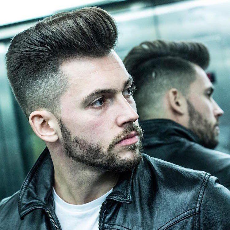 Pompadour Frisur Mit Übergang Und Bart Haare Pinterest