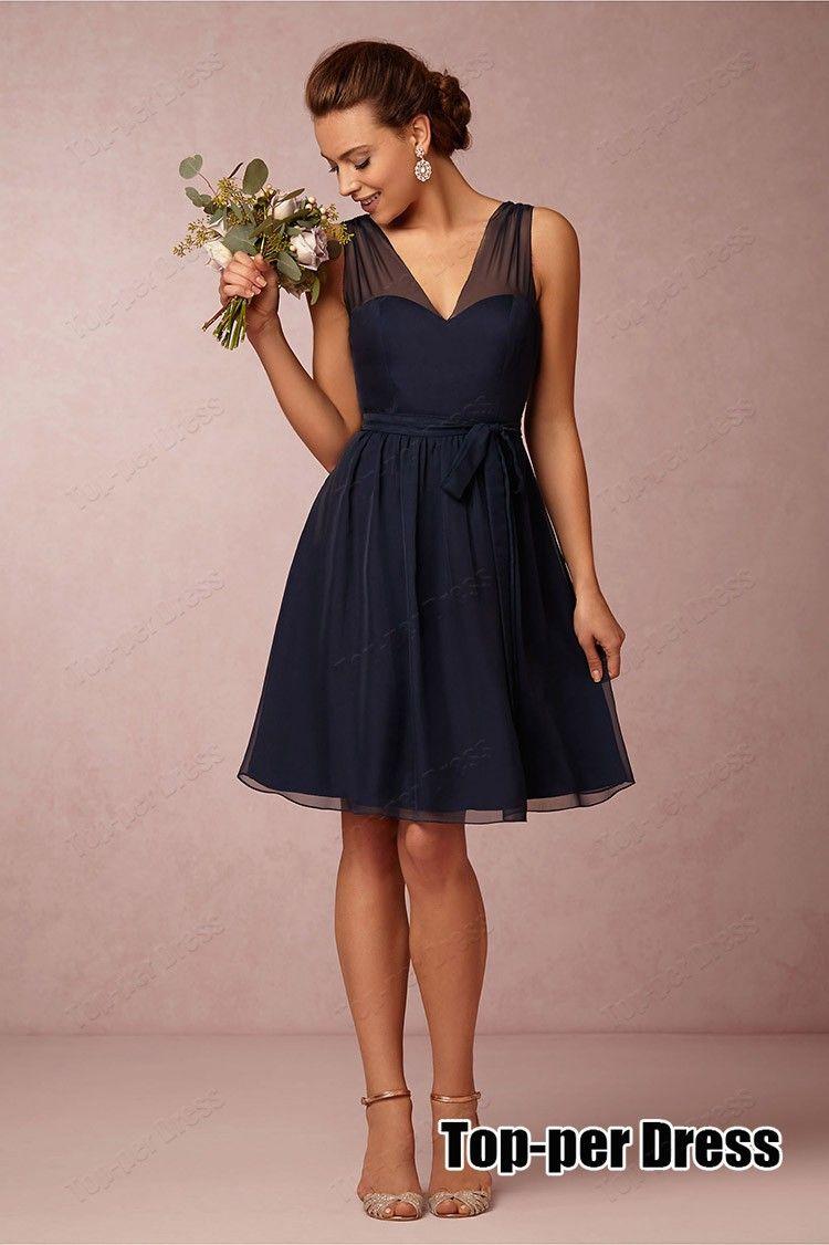 Navy blue short bridesmaid dresses 2015 vestido de festa