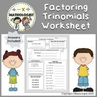 Factoring Trinomials Worksheet, a=1, Algebra, Homework ...